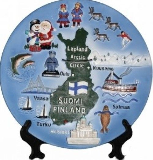 Ceramic plate. Map of Finland