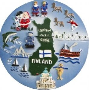 Magnet Ceramic Round - Map of Finland