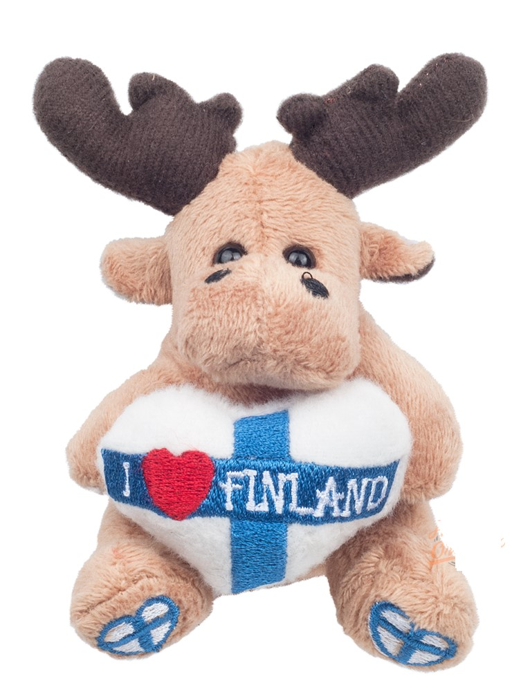 Plush magnet Moose with heart 6.5cm