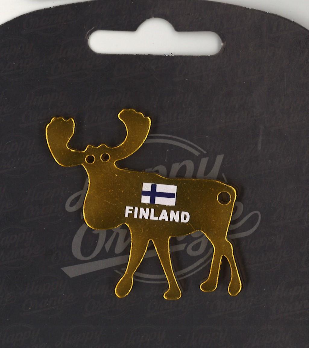 Магнит открывалка для бутылок Лось Finland (золотой)